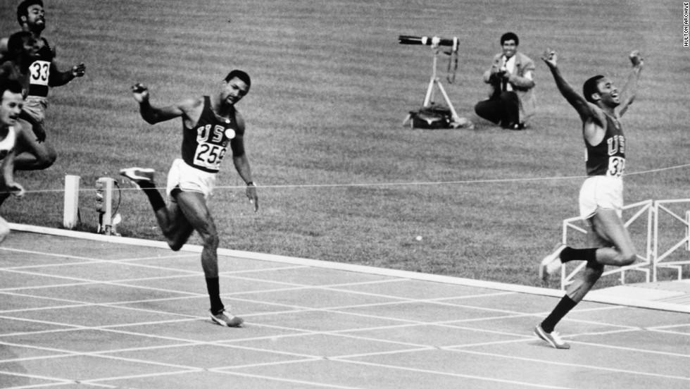 Smith won the 200 meters but Carlos (center) was beaten by Norman (far left) on the line. Norman's time of 20 seconds flat would have won gold at the 2000 Sydney Olympics.