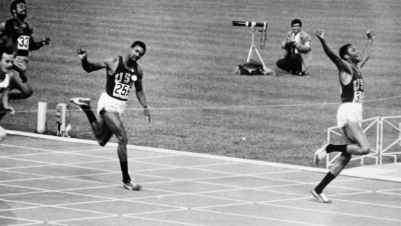 Smith won the 200 meters but Carlos (center) was beaten by Norman (far left) on the line. Norman