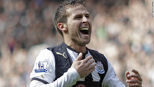 Newcastle United's French midfielder Yohan Cabaye celebrates after scoring his second goal against Stoke City.
