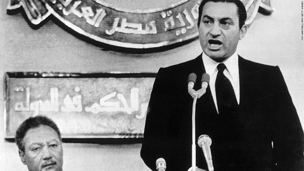 Eight days after Sadat's assassination, Mubarak is officially sworn in as Egypt's president on October 14, 1981. Mubarak was re-elected in 1987, 1993, 1999 and 2005.