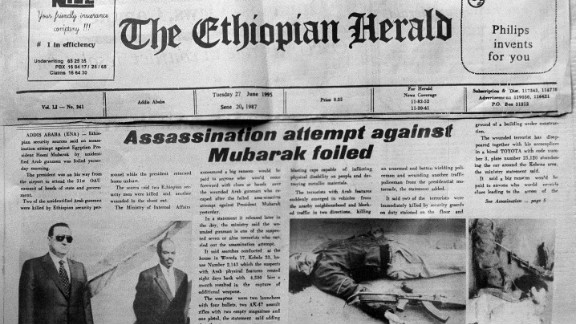 The front page of the Ethiopian Herald reports a foiled assassination attempt on Mubarak on June 27, 1995. He survived an attempt by an al Qaeda-affiliated group in Addis Ababa, Ethiopia.