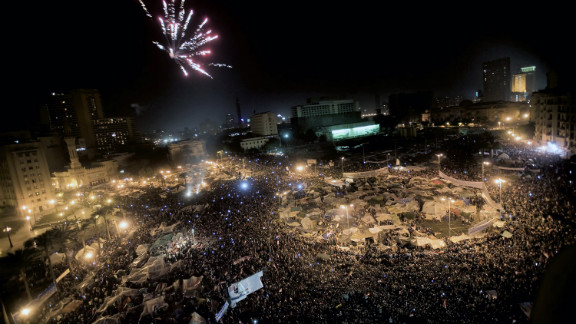 After weeks of Egyptians protesting Mubarak's 29-year reign, the President steps down from office on February 11, 2011, causing celebrations in Cairo's Tahrir Square.