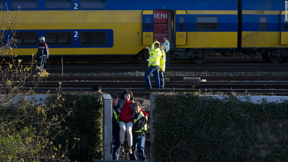 The trains collided between the Amsterdam Sloterdijk and the Amsterdam Centraal stations, CNN affiliate RTL reported, citing rescue officials.
