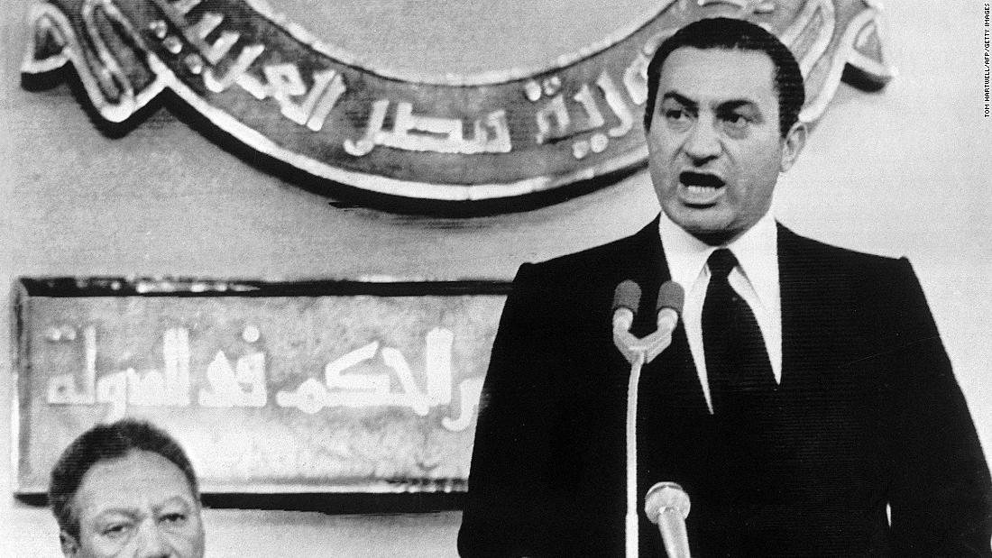 Eight days after Sadat's assassination, Mubarak, right, is officially sworn in as Egypt's president on October 14, 1981. Mubarak was re-elected in 1987, 1993, 1999 and 2005.