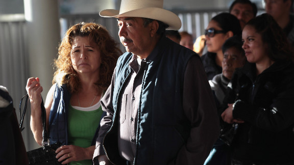 Visitors wait to enter the U.S. in Nogales, Arizona. Thousands of Mexicans have work permits and commute daily.