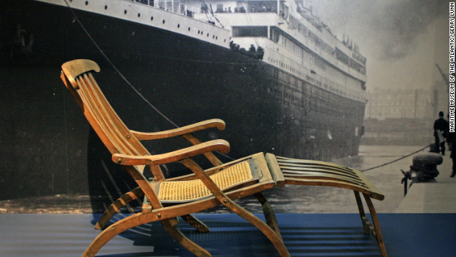 Rare original deck chair from Titanic, the signature artifact of the permanent Titanic exhibit at the Maritime Museum of the Atlantic