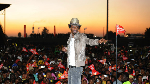 """K'naan performs """"Wavin' Flag"""" on June 01, 2010, in Witbank, South Africa. The song was selected as the official anthem of the 2010 FIFA World Cup."""