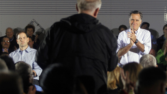 Presumptive GOP presidential nominee Mitt Romney campaigned Monday with Florida GOP Sen. Marco Rubio.