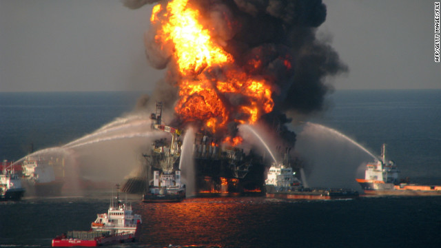 The US Coast Guard battles the blazing remnants of the offshore oil rig Deepwater Horizon in the Gulf of Mexico on April 21, 2010, near New Orleans, Louisiana.