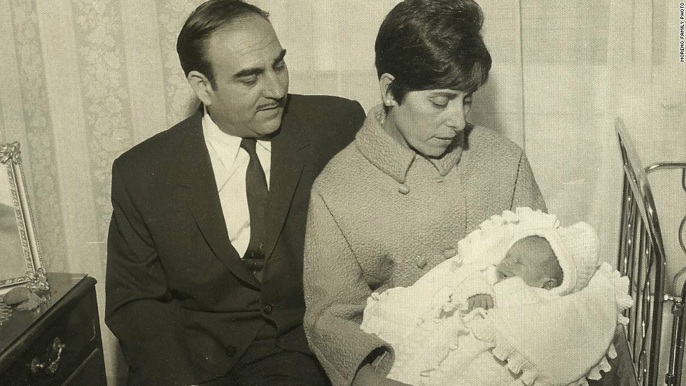 Baby Juan Luis Moreno with the parents who told him they had bought him from a nun.