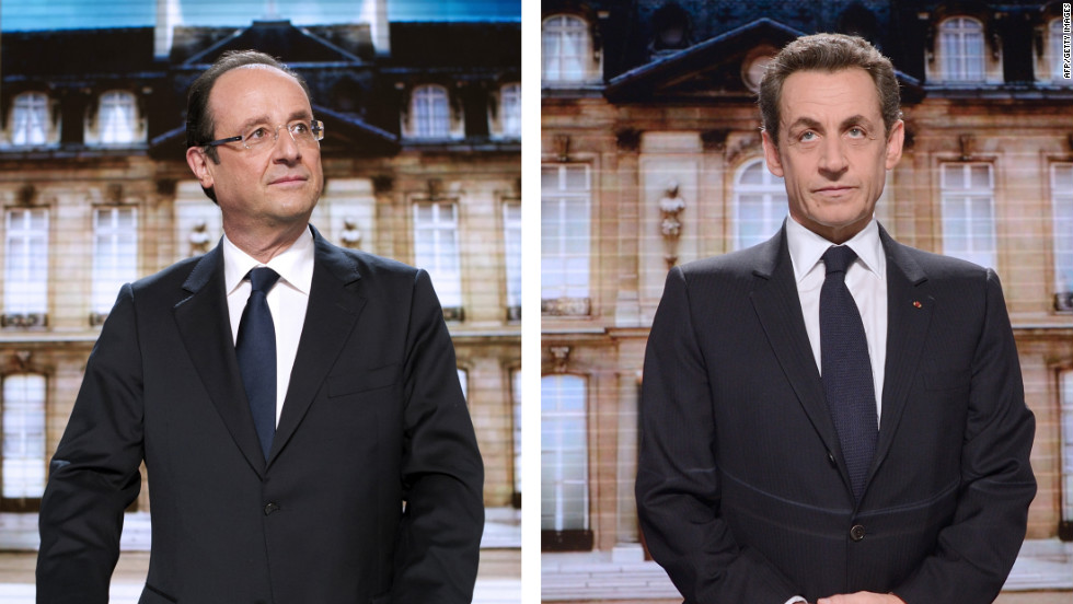 This composite photo shows candidates for the French presidency, Francois Hollande, left, and incumbent  Nicolas Sarkozy.