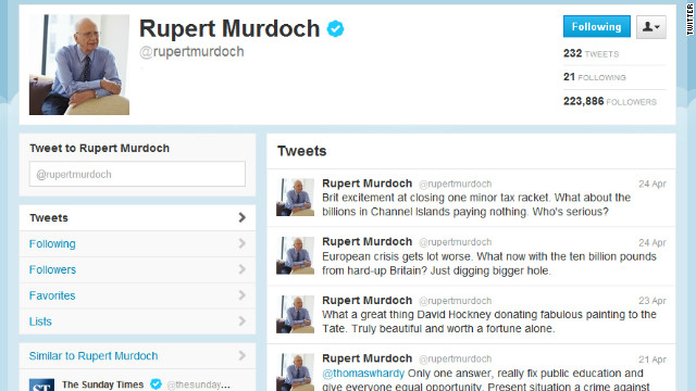 "Rupert Murdoch says his tweets mustn't be taken ""too seriously."" Earlier he wrote: ""Sorry, if anyone really cares."""
