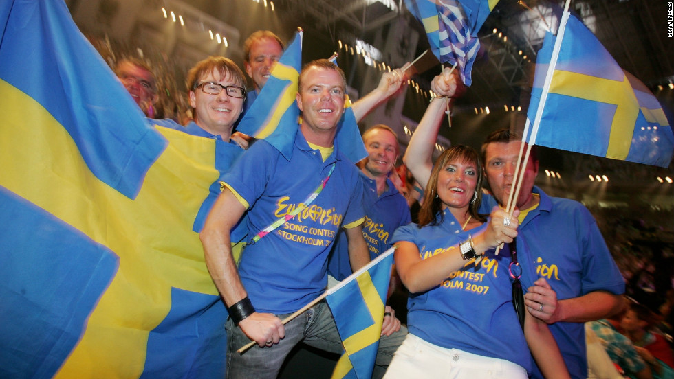 Dedicated Swedish fans attend the finals of Eurovision 2006 in Athens, Greece, the year that Swedish singer Carola Haggkvist finished fifth. Sweden has won Eurovision four times, a record beaten only by Ireland (seven), France and the UK (five apiece). The Netherlands has also had four wins.