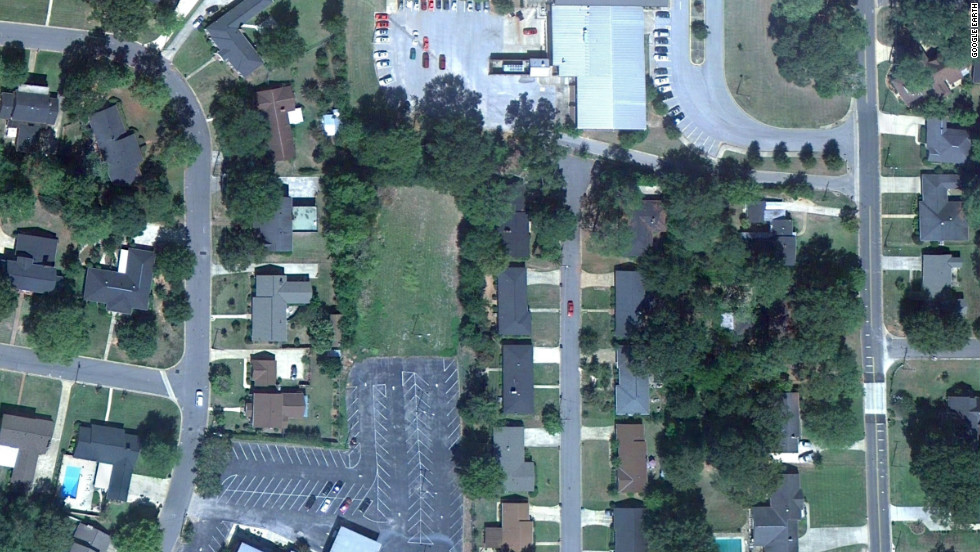 This Google Earth image, taken in 2010, shows how part of Tuscaloosa looked before the tornado. The large parking lot belongs to the Central Church of Christ at Hargrove Road and Third Street.