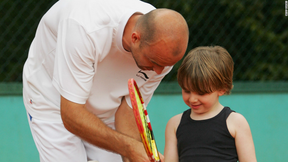 Ljubicic -- seen here giving tips to Rocco, the son of his coach Riccardo Piatti, at the 2008 French Open -- also has a daughter Zara, who was born in November 2011.