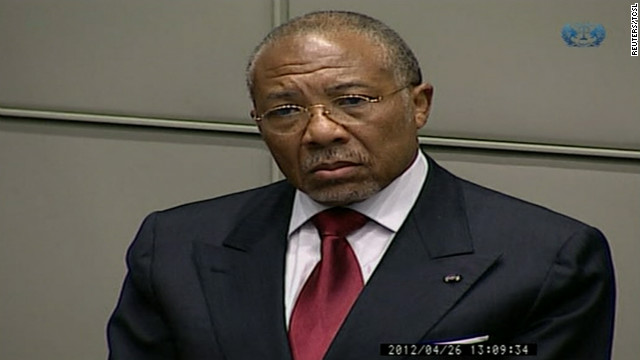 Charles Taylor listens as the verdict is read in his trial at the Special Court for Sierra Leone, April 26.