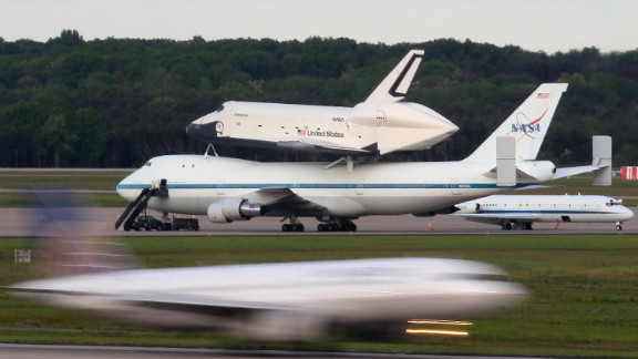 The Enterprise and its carrier get ready for departure from Washington Dulles International Airport on Friday.