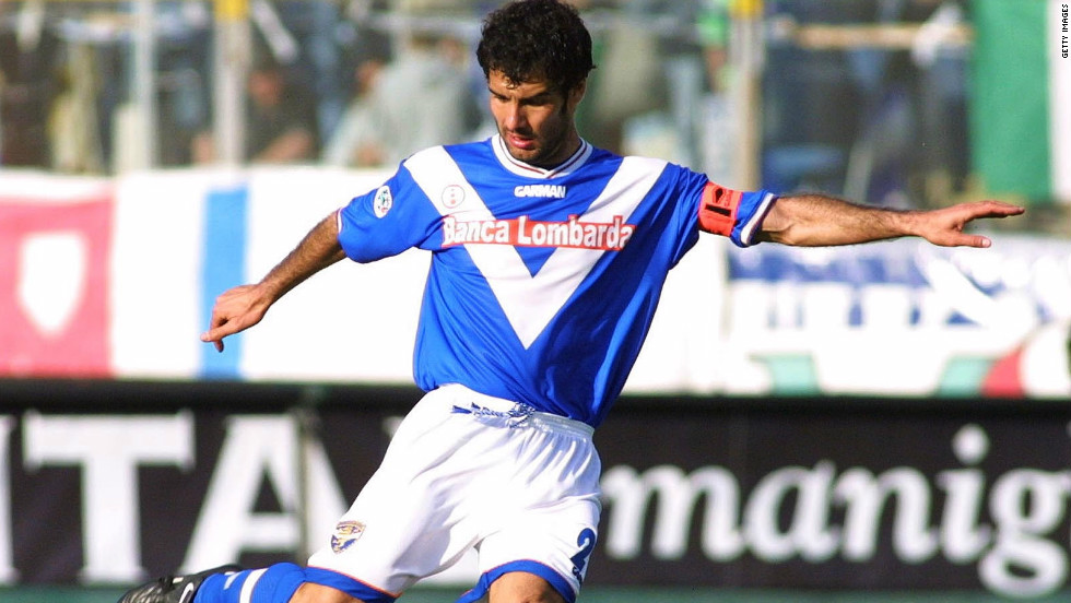He had two spells at Serie A side Brescia either side of a brief time at Roma, and is pictured playing against Perugia in 2002.