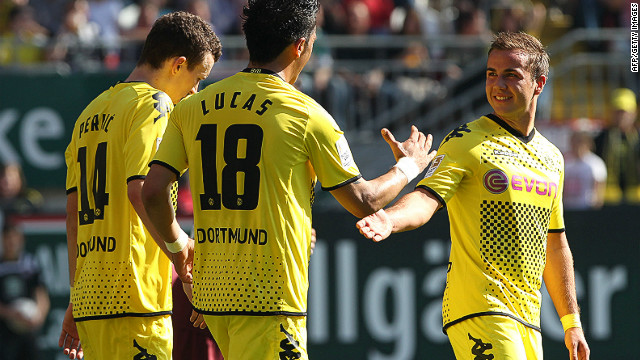 Dortmund striker Lucas Barrios scored a hat-trick in Jurgen Klopp's team 5-2 demolition of Kaiserslautern