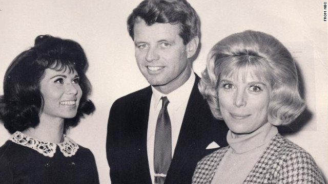 "In this NBC photo taken in December 1965, TV actress Nina Roman, today known as Nina Rhodes-Hughes, left, and her ""Morning Star"" co-star Elizabeth Perry, right, meet Robert F. Kennedy at NBC's Burbank studios. Two and a half years later, Rhodes-Hughes witnessed Kennedy's assassination."