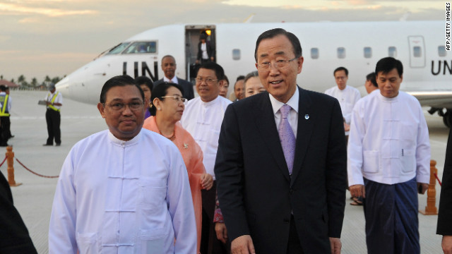 U.N. Secretary-General Ban Ki-moon, right, is greeted by Myanmar's Foreign Minister Wunna Maung Lwin on Sunday.
