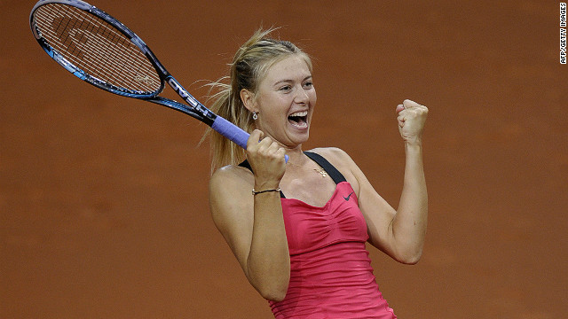 Maria Sharapova cannot contain her delight as she seals victory over world No.1 Victoria Azarenka in Stuttgart on Sunday