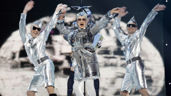 """Drag act Verka Serduchka of Ukraine finishes second in the 2007 competition with the song """"Dancing Lasha Tumbai."""""""