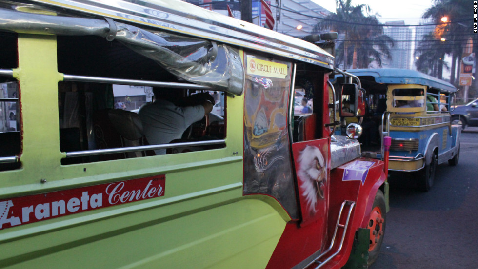 "Traditional jeepneys are one of the most common forms of public transport in the Philippines. Drivers work for ""boundaries,"" meaning the more fares they take the more money they make."