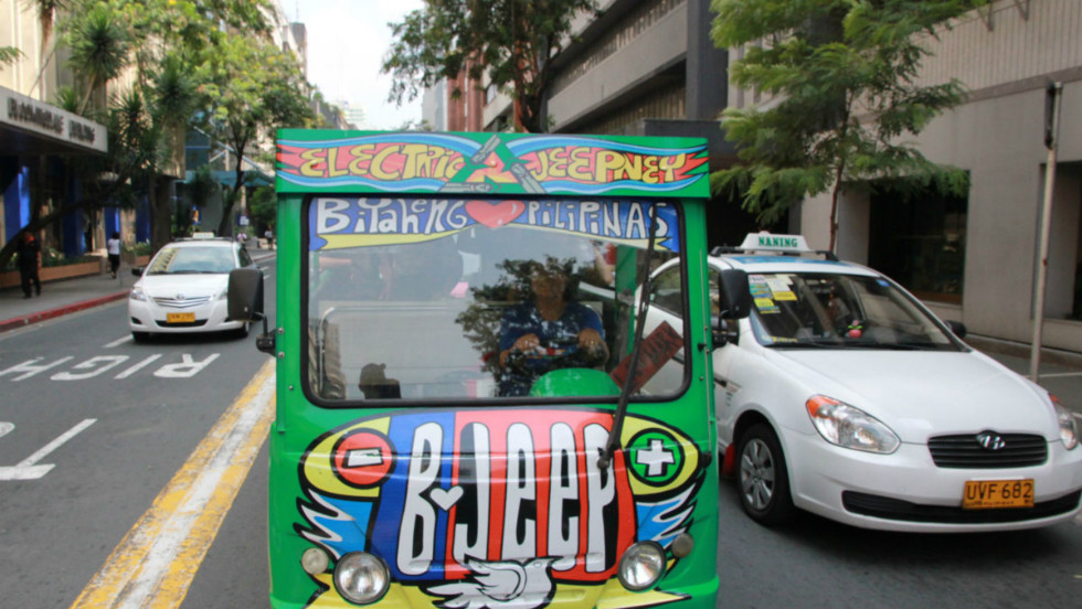 "The electric jeepney project has been running since 2009.""As well as the environmental impact, we wanted it to help women to have the same opportunity as male drivers,"" says Reina Garcia."