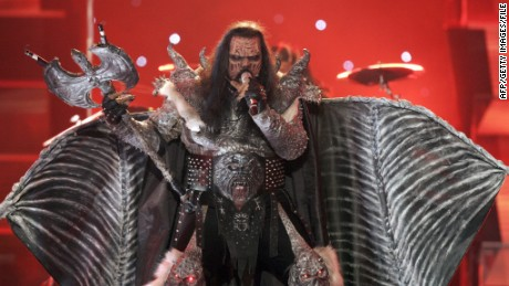 "Finland's Lordi performs the song ""Hard Rock Hallelujah"" during the 51st Eurovision final song contest in 2006."