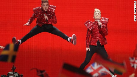 John and Edward Grimes of the band Jedward perform for Ireland in 2011.