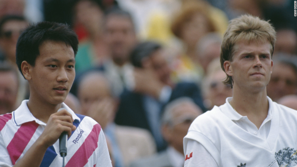 There was a lull of five years between McEnroe's seventh and final grand slam to the 1989 French Open victory of Michael Chang, left, who beat Stefan Edberg as a 17-year-old to become the youngest winner of a major.