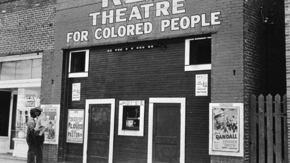 A theater in Leland, Mississippi, which was segregated under the Jim Crow laws in 1939.