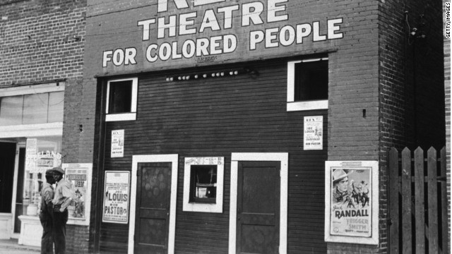 November 1939: The Rex Theatre in Leland, Mississippi, which is segregated under the Jim Crow laws. (Photo by Marion Post Wolcott/Library Of Congress/Getty Images)