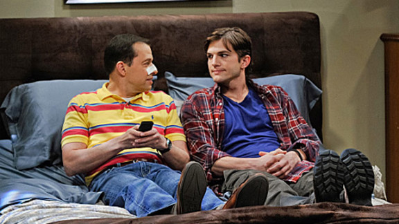 """Ashton Kutcher, right, with co-star Jon Cryer, was on the set of """"Two and a Half Men"""" when police were called to his house."""