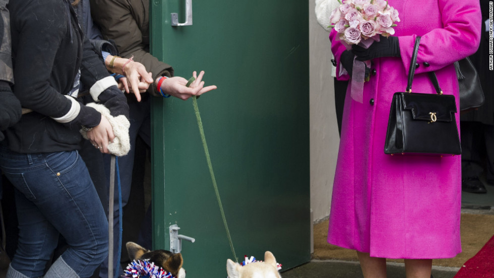 Britain's Queen Elizabeth II greets the public with her famous corgis during a visit at Sherborne in Dorest, southwest England, on Tuesday.