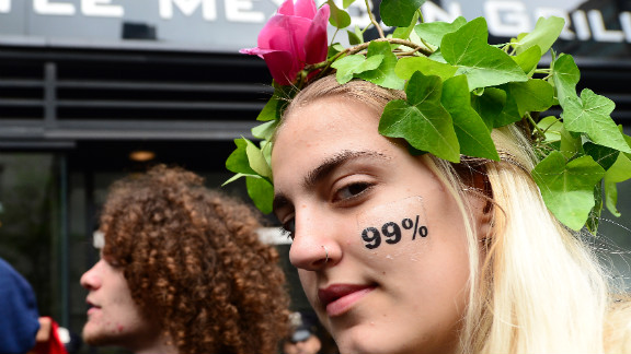 Occupy Wall Street participants stage a march as part of May Day celebrations in New York