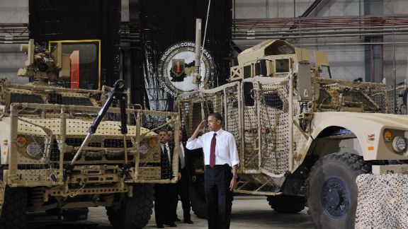 Obama salutes troops at Bagram Air Base in Afghanistan.