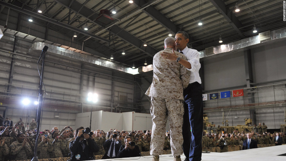Obama greets Gen. John Allen, the top U.S. commander in Afghanistan, before addressing troops at Bagram Air Base.
