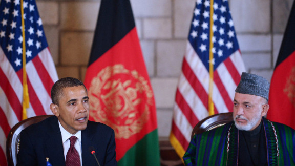 Obama speaks before signing a strategic partnership agreement with Afghan President Hamid Karzai, right, at the Presidential Palace in Kabul. The agreement provides U.S. military and financial support to Afghanistan for 10 years after the 2014 scheduled troop withdrawal.