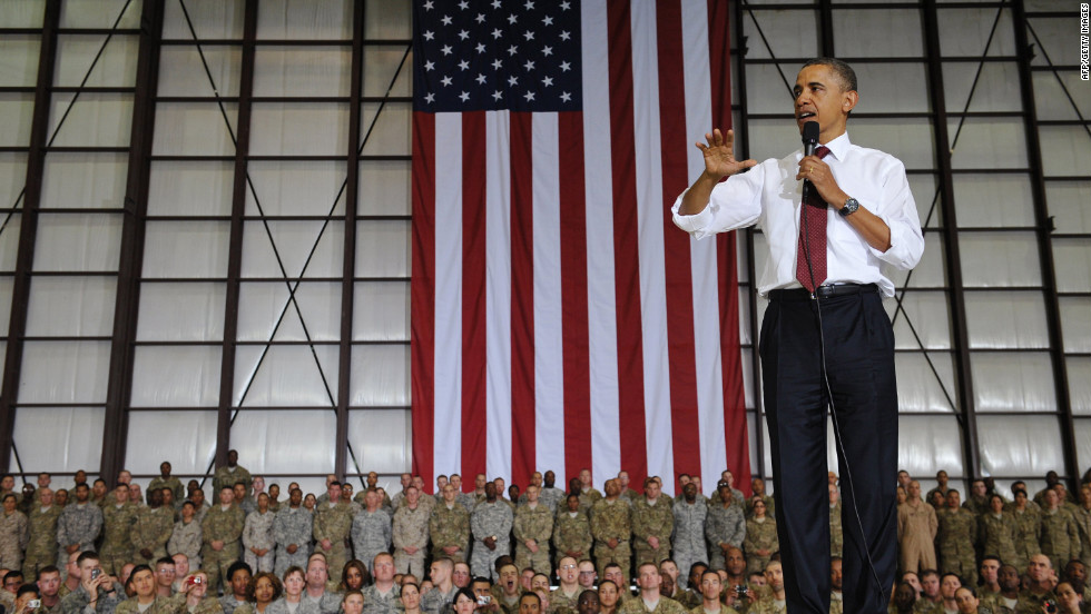 Obama speaks to troops at Bagram Air Base.
