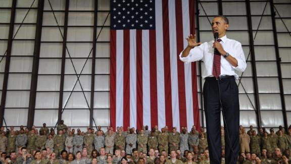 Obama speaks to troops at Bagram Air Base.