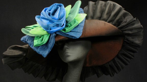 You may not be able to spot every single hat at the Derby, but four milliners shared their custom designs with us. Sally Faith Steinmann of Maggie Mae Designs created this hat in honor of Arson Squad, a retired race horse, who belongs to the Old Friends of Kentucky, a facility for retired thoroughbreds. The hat was auctioned to raise money and awareness for the foundation. Steinmann's love of horses inspires her designs.