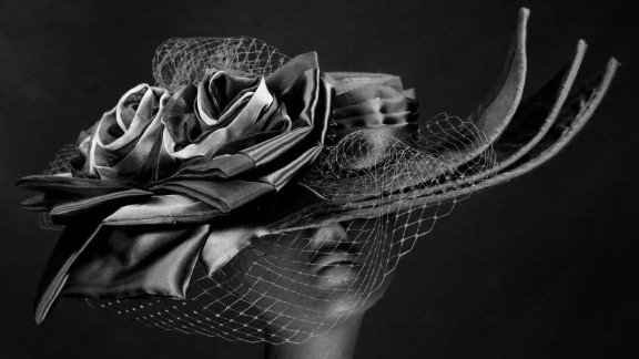 """Vintage netting, featured on designs like Steinmann's """"Marguerite"""" hat, is still a favorite among the Derby crowd, as is her use of pleated satin."""