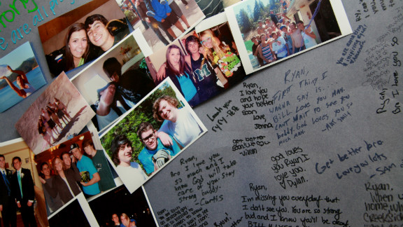 Ryan's friends have shown their support for the Buchanan family through notes and photos. Many of them stop by the house to visit Ryan.