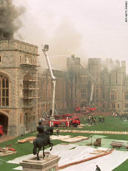"""The year 1992 was a bad one for the royal family.  In addition to the three royal marriage breakdowns, a fire wreaks havoc in Windsor Castle causing major structural damage. The queen would later describe this year as """"annus horribilis."""""""