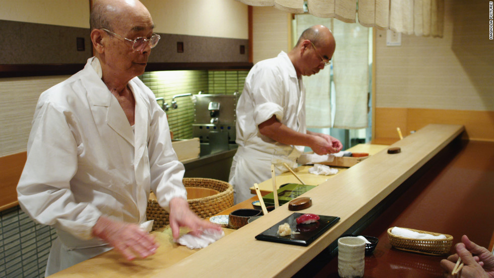 "Sushi chef Jiro Ono and son Yoshikazu Ono. Jiro, 89, is the first sushi chef in the world to receive three Michelin stars. He was featured in a 2011 documentary, ""Jiro Dreams of Sushi,"" and last year welcomed President Barack Obama to his restaurant."
