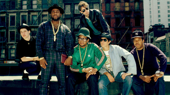 The Beastie Boys chill with the rap trio Run-DMC in 1987.