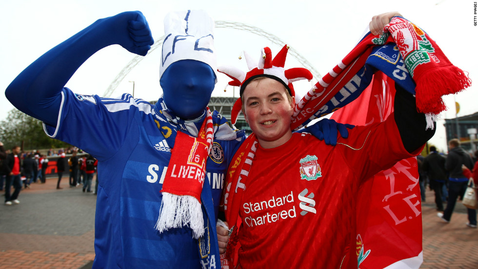 Liverpool and Chelsea fans enjoy the atmosphere prior to the final. A lack of train services due to Monday's public holiday meant that Liverpool fans faced a long trip home after the match.