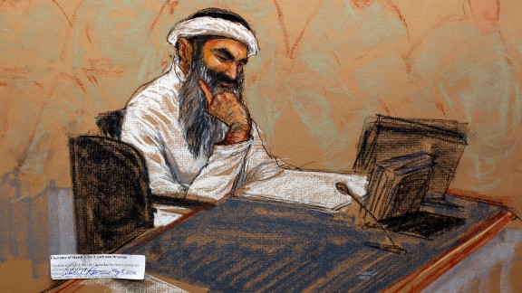 In this courtroom drawing, Khalid Sheikh Mohammed sits in court Saturday at the U.S. Naval Base in Guantanamo Bay, Cuba.